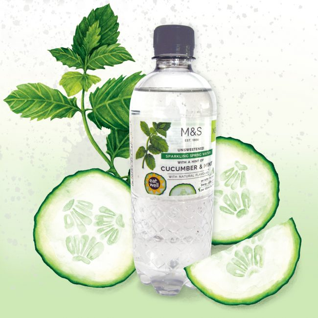 Food-illustration-packaging-design-waters-for-M&S-cucumber-and-mint