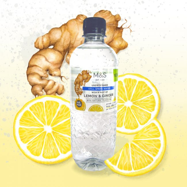 Food-illustration-packaging-design-waters-for-M&S-lemon-and-ginger