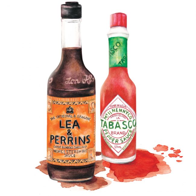 Watercolour Food illustration condiments still life tabasco and worcestersauce still life watercolor tabasco and worcestersauce