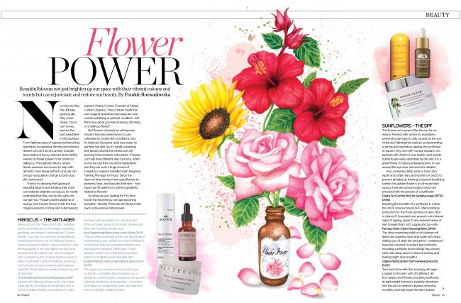 Watercolour flower power editorial illustration botanicals beauty skincare natural nature