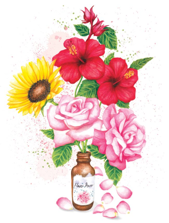 Watercolour flowers botanical beauty natural skincare