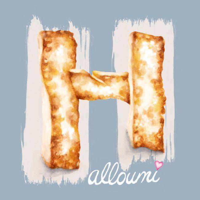Watercolour-food-illustration-halloumi-cheese