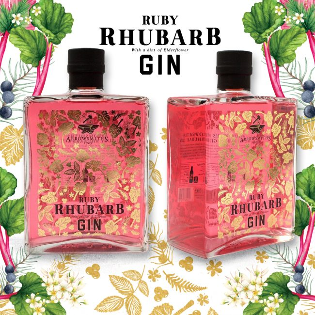 Gin-illustrations-for-Ruby-Rhubarb-gin food illustration packaging drinks