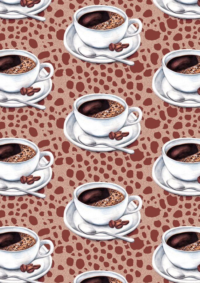 Caffeine fix coffee addict pattern food illustration watercolour pattern