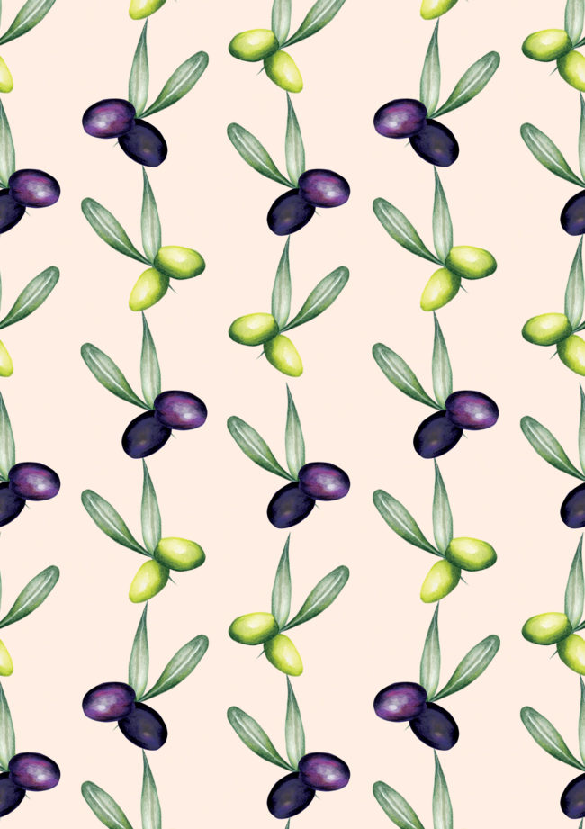 watercolour olive pattern print food illustration healthy eating