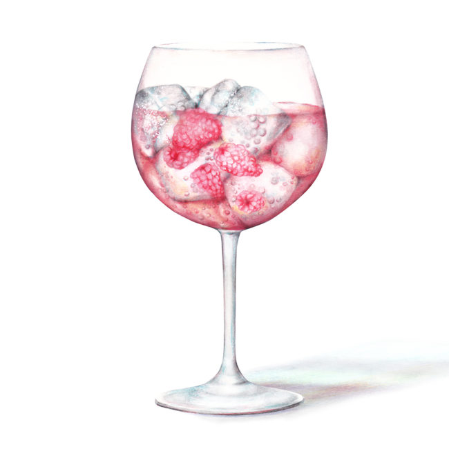 Watercolour pink gin balloon