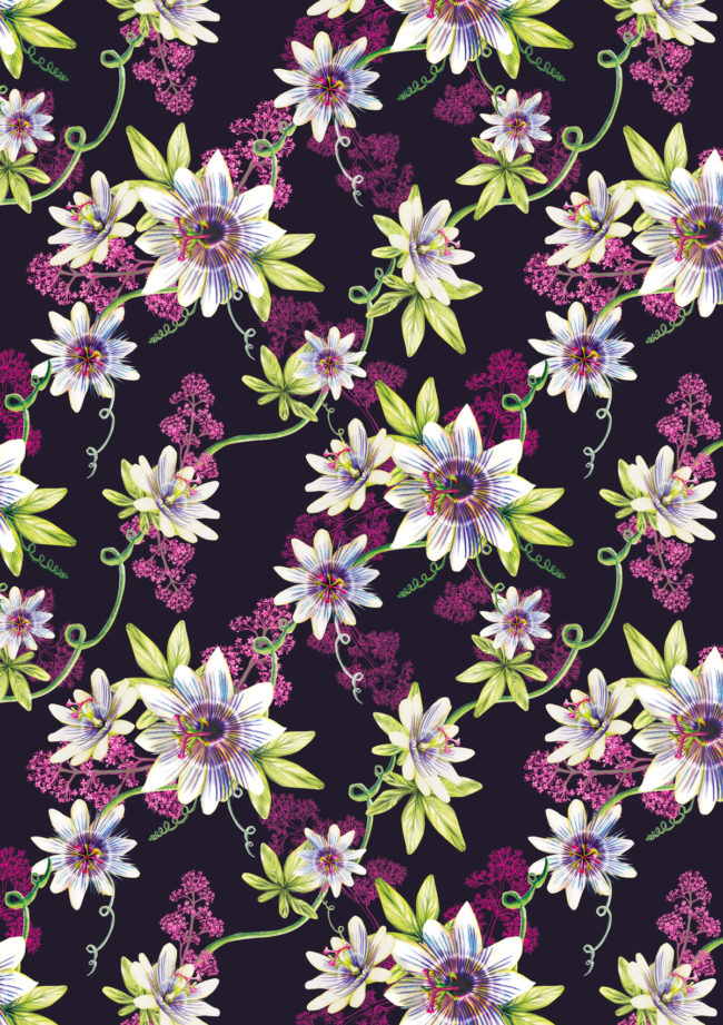 passion flower watercolour floral pattern nature gardens