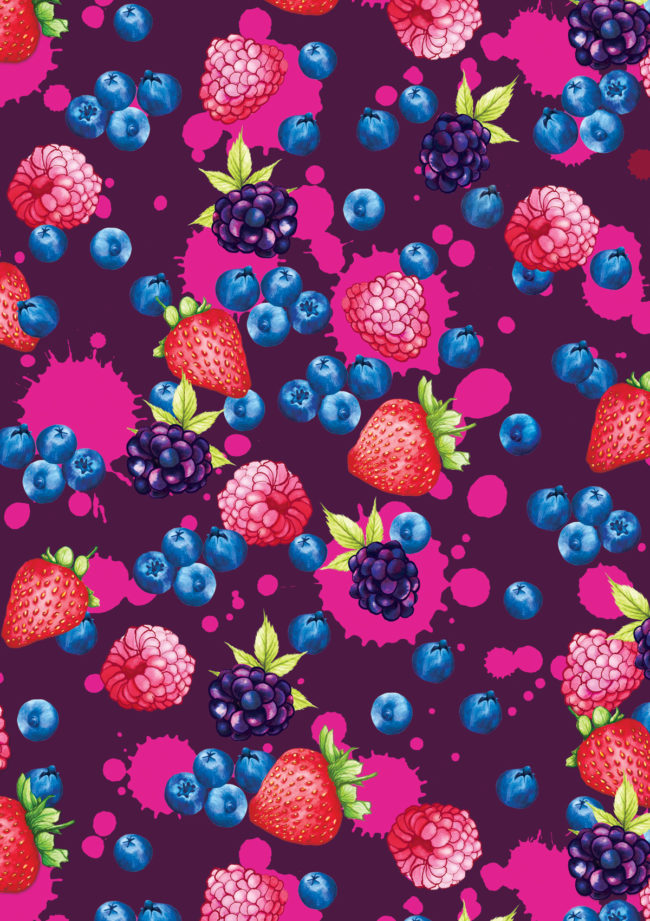 berries food illustration and pattern