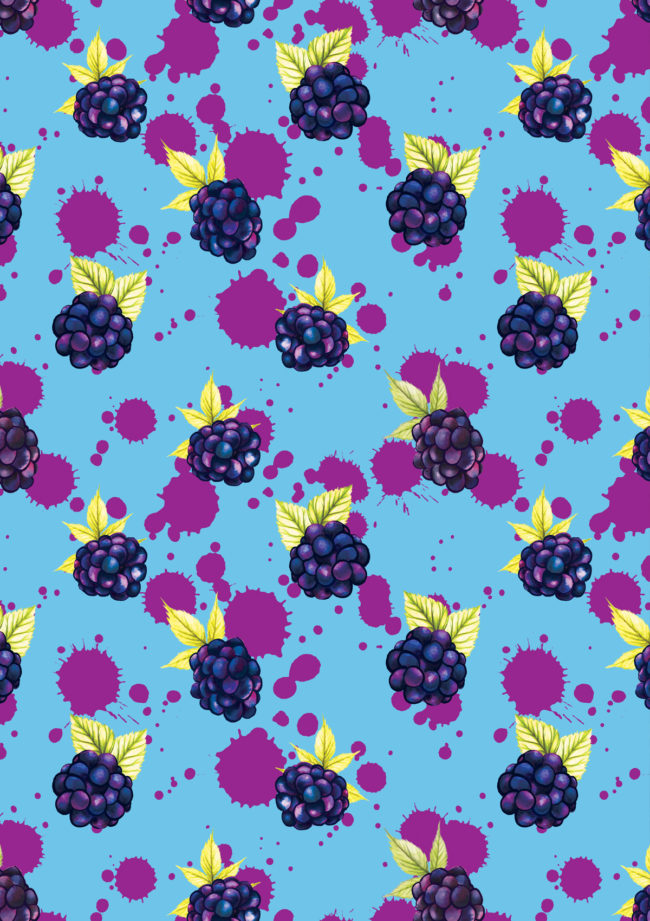 watercolour food pattern blackberries print