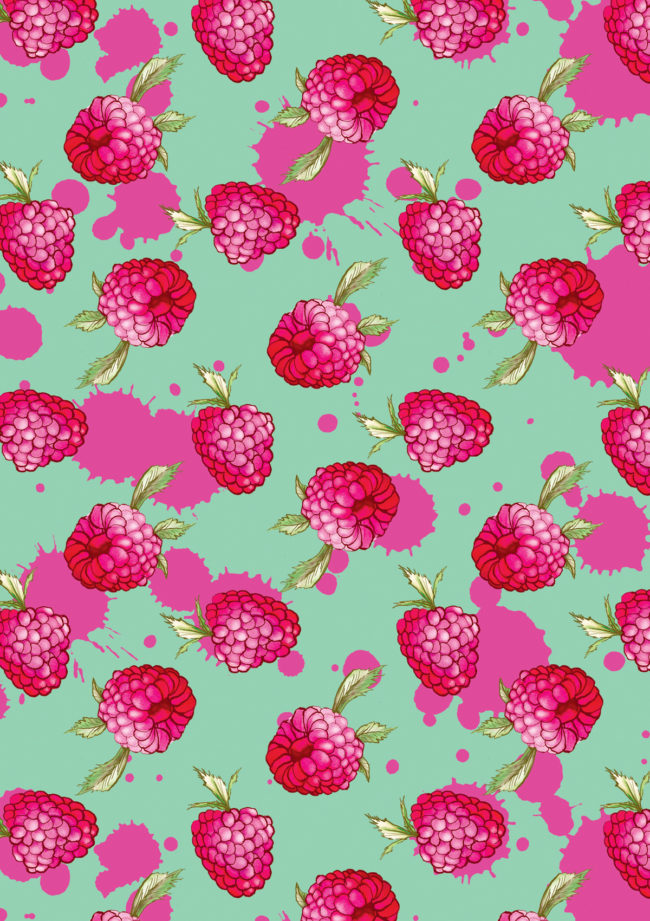 raspberries watercolour food illustration and pattern