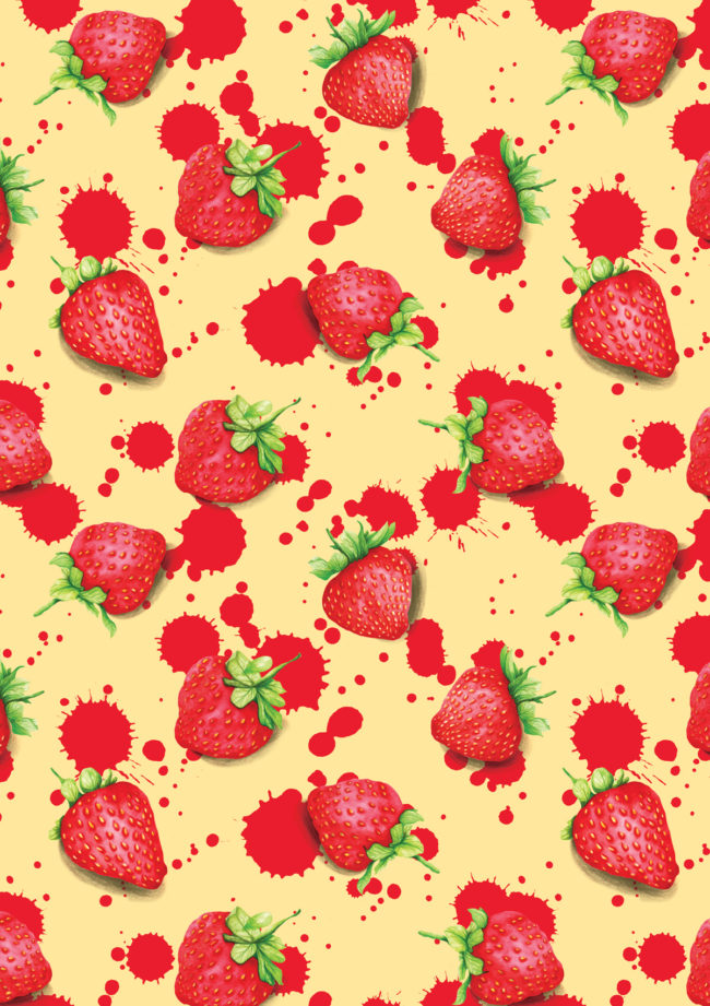 strawberry watercolour food illustration and pattern