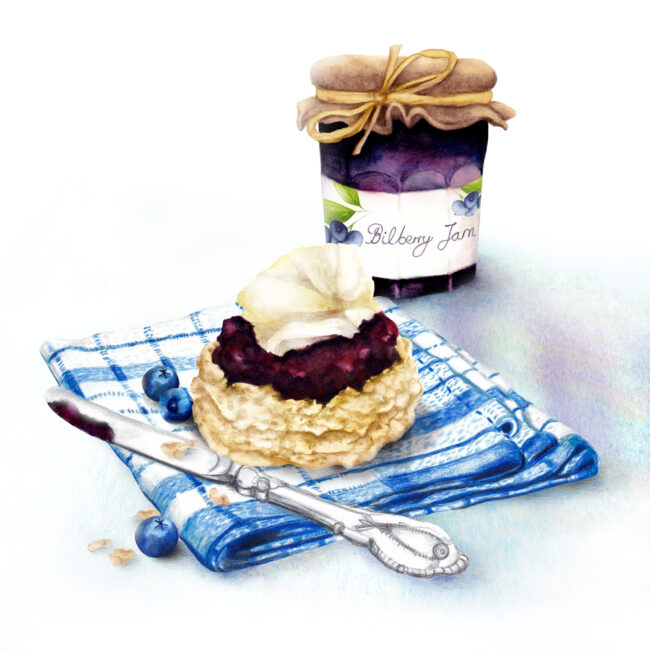watercolour food illustration scone with jam and cream