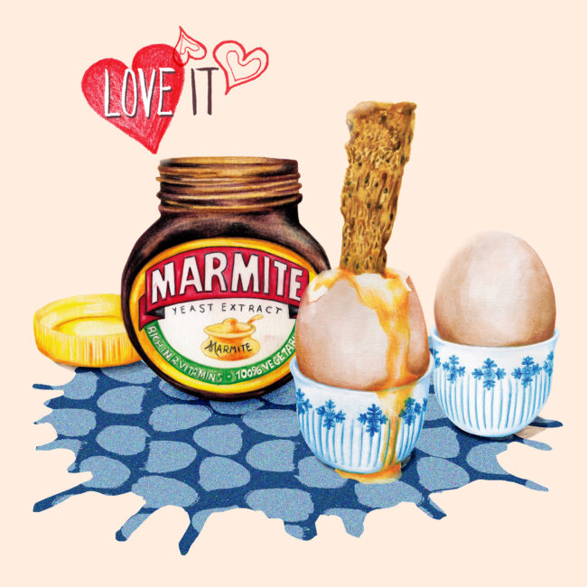 Watercolour food illustration Marmite Brunch still life