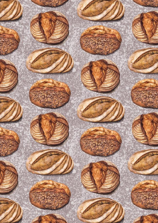 Watercolour food illustration pattern artisan bread