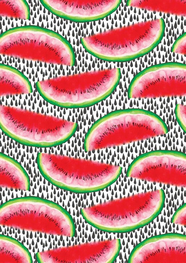 Bright, juicy fruity watermelon food illustration pattern