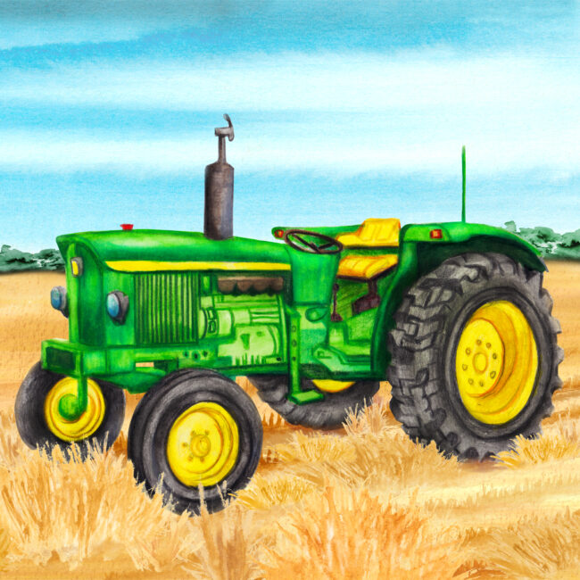 farm yard watercolour illustrations vintage tractor farming farmers market food producers