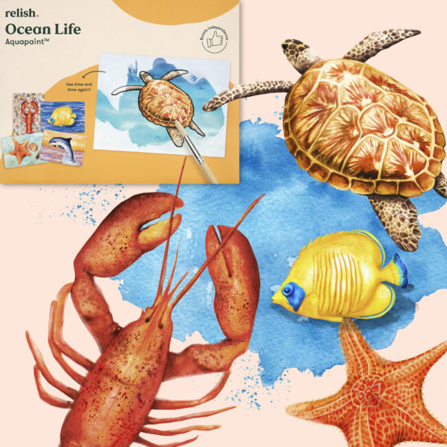 Ocean life watercolour illustrations for product design, mental health care activity, dementia, wellness lifestyle