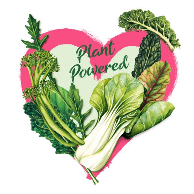 Plant Powered food illustration go green veggies