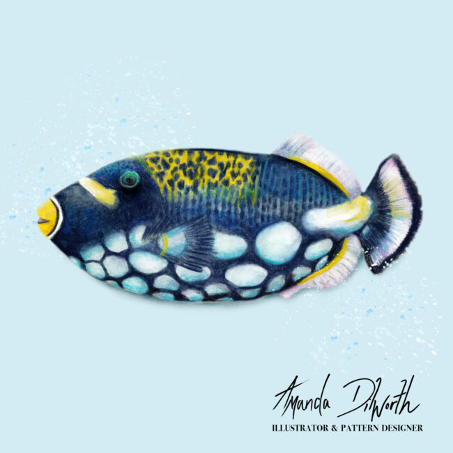 watercolour illustration of tropical fish ocean life